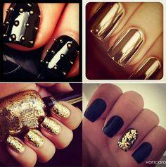 Black and Gold Nail Designs for Short Nails Fancy Nails, Gold Nails, Black Nails, Cute Nails, Pretty Nails, Nail Bling, Black Polish, Glitter Nails, Gold Nail Designs