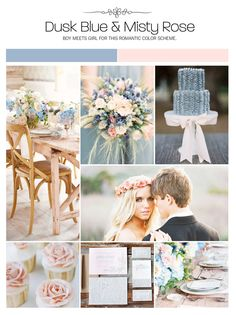 Dust blue and misty rose (blue and pink) wedding inspiration board, color palette, mood board via Weddings Illustrated http://www.itgirlweddings.com/