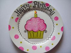 Personalized cupcake birthday plate. $25.00, via Etsy.