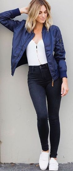 #fall #trending #outfits | Navy Bomber Jacket + Black and White
