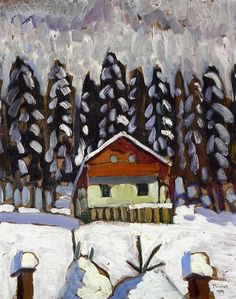 Cabin in the Snow at Kochel - Gabriele Münter (German, Expressionism (The Blue Rider) Wassily Kandinsky, Franz Marc, Illustrations, Illustration Art, Cavalier Bleu, Women Artist, Ludwig Meidner, Snow Cabin, George Grosz