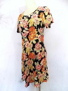 Floral Grunge Dress Sz S Indie Mini Sheer Vtg 80s Passports BOHO Hippie Summer