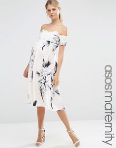 ASOS+Maternity+Scalloped+Bardot+Midi+Dress+In+Spaced+Floral
