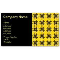 Yellow and Black Tribal Fractal Pattern Business Card Template $19.10