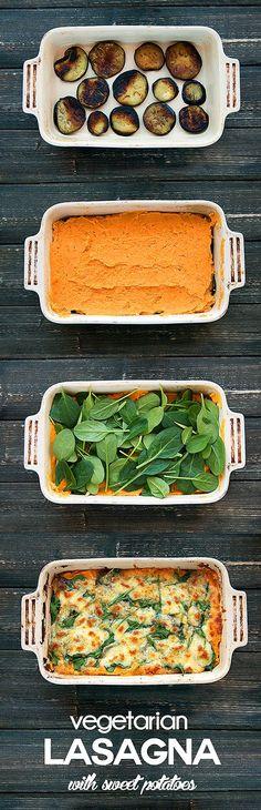sweet potato - eggplant vegetarian lasagna