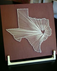String Art. Larger scale. Pinpoint the state & city you got married/met in.