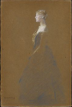 Woman in a Blue Dress / Thomas Wilmer Dewing / ca. 1890–1909 / Pastel on brown wove paper, mounted on wood board   Met Museum of Art