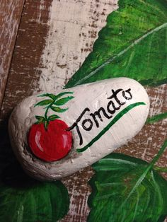 Handpainted Rock Tomato Stone curios or plant market Natural smooth river rock found at a State Park, and painted in green colors with green and white with black words Measuring about 3 X Painted Bricks Crafts, Brick Crafts, Painted Garden Rocks, Painted Rock Cactus, Painted Rocks, Mosaic Flower Pots, Mosaic Pots, Mosaic Garden, Plant Markers
