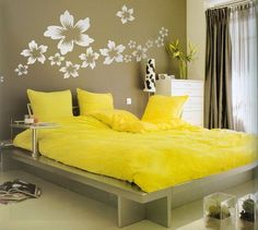 Wonderful Grey Yellow Wood Glass Modern Design Bedroom Ideas Painting Ideas Wallpaper Flower Yellow Cover Bed Wood Bed Dresser Curtain Night Lamp At Bedroom As Well As Home Painting Ideas  And Designer Bedrooms , Beautiful Ideas Painting Designs For Bedrooms: Bedroom, Interior