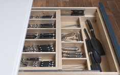 Specialized drawer configurations from Wood-Mode make the most of your space. Kitchen Storage Units, Kitchen Cupboard Doors, Kitchen Organisation, Storage Cabinets, Kitchen Cabinets, Organization, Diy Kitchen, Kitchen And Bath, Kitchen Decor