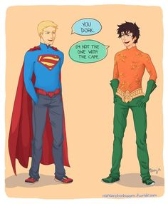 A blond superman and a kid with water powers. . . I like Percy's outfit better.