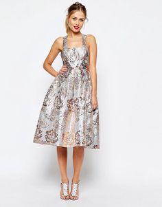Image 1 ofASOS SALON Metallic Jacquard Midi Prom Dress