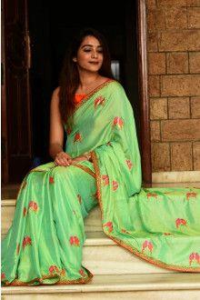 Buy Online Parrot Green Color Designer Embroidery Silk Saree