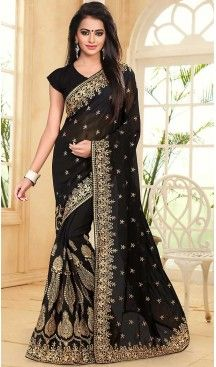 723782 Black and Grey color family Embroidered Sarees, Party Wear Sarees in Faux Georgette fabric with Border, Machine Embroidery, Thread, Zari work with matching unstitched blouse. Indian Dresses, Indian Outfits, Indian Clothes, Designer Sarees Online Shopping, Georgette Sarees, Georgette Fabric, Silk Sarees, Black Saree, Saree Models