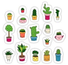 Patio by Elebea Stickers Cactus Stickers, Kawaii Stickers, Journal Stickers, Planner Stickers, Homemade Stickers, Cactus Drawing, Free To Use Images, Tumblr Stickers, Bullet Journal Ideas Pages