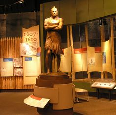 Statue of paramount chief Powhatan in the Jamestown Settlement galleries.