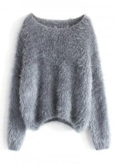 Fuzzy Knitted Sweater in Grey