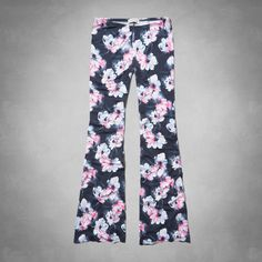 floral drapey flare pants
