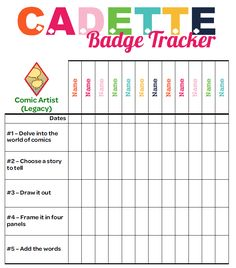 I am Girl Scouts Cadette Badge Requirement Tracker. Personalizable.  Available in both Word [.doc] and pdf [.pdf] formats.