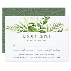 Wild Meadow RSVP Card with Entree Choices