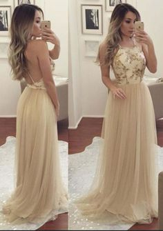 Champagne Spaghetti Appliques Tulle Prom Dresses, Long #prom #promdress #dress #eveningdress #evening #fashion #love #shopping #art #dress #women #mermaid #SEXY #SexyGirl #PromDresses