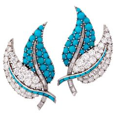 A Pair of Turquoise Diamond Ear Clips