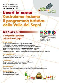 """Questa settimana parteciperemo a """"Lavori in corso: costruiamo insieme il programma turistico della Valle dei Segni"""", con il Distretto culturale di Valle Camonica a Capo di Ponte"""