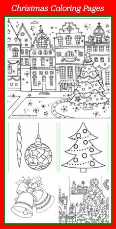Free Christmas coloring pages.  (Click on pictures in blog post to download)