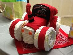 BABY SHOWER~ red tractor diaper cake