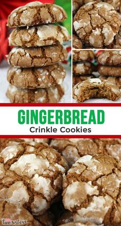 Gingerbread Crinkle Cookies - light, fluffy and spicy on the inside and sweet and crunchy on the outside. A yummy homemade Gingerbread cookie recipe. Cocoa Cookies, Cookie Desserts, Cookie Recipes, Dessert Recipes, Crinkle Cookies, Ginger Bread Cookies Recipe, Yummy Cookies, Holiday Recipes, Cupcake Cookies