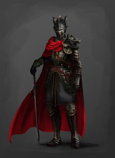 Concept: Knight in black armor, Ricardo Herrera Fantasy Armor, Dark Fantasy Art, Fantasy Male, Fantasy Character Design, Character Design Inspiration, Character Art, Female Armor, Female Knight, Fantasy Characters
