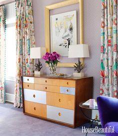 Lavender Chevron Walls + Double-framed Artwork. Love it. | housebeautiful.com Photo by Jonny Valiant