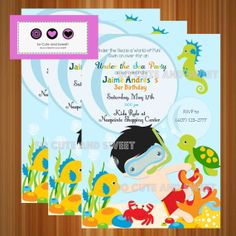 Under the sea Invitation Under the sea Birthday by socuteandsweet, $12.00