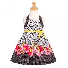 Bonnie Jean Toddler Little Girls Black Leaf Butterfly Dress Size 2T-16
