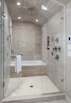 Contemporary Master Bathroom with Waterfall Series Porcelain Tile, Rain Shower Head, High ceiling, Handheld Shower Head