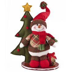 Boneco de Neve em Pé com Árvore 27cm $42.35