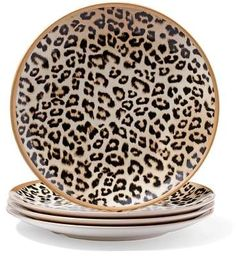 Serve up chic style with this set of four leopard-print melamine plates. Home Goods Decor, Home Decor Furniture, Home Decor Items, Animal Print Decor, Animal Prints, Safari Home Decor, Purple Kitchen, Tea Party Decorations, Dream Decor