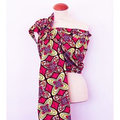 Bandolera de anillas artesanal Granujas de paño africano - amarillo y rosa