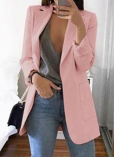 Casual Solid Suits Blazer Jacket Office Lady Feminino Lapel Slim Cardigan Temperament Suit Jacket Size S Color Black suit Casual Blazer Women, Blazers For Women, Suits For Women, Clothes For Women, Work Clothes, Ladies Blazers, Suit Jackets For Women, Blazer Rose, Rosa Blazer
