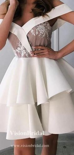 Elegant Off Shoulder With Lace Layered Homecoming Dresses, Homecoming Dresses, Two Piece Homecoming Dress, Freshman Homecoming Dresses, Simple Homecoming Dresses, Hoco Dresses, Long Sleeve Backless Dress, Dream Dress, Dress Making, Shoulder Dress, Elastic Satin