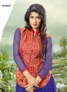Aishwarya Sakhuja Soft Net Blue Designer Gown. Top : Soft Net Gown Bottom : Shantoon Dupatta : Najmeen