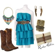 """""""County Fair"""" by rodeo-chic on Polyvore, Old Gringo cowboy boots, @oldgringoboots; belt buckle by @mtsilversmiths strapless tiered dress, southwestern, Navajo inspired, western"""
