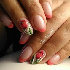 The wedding manicure - the beauty of the bride is in the smallest details - My Nails Tulip Nails, Flower Nails, French Nails, Spring Nails, Summer Nails, Hair And Nails, My Nails, Gel Nail Art Designs, Nails Design