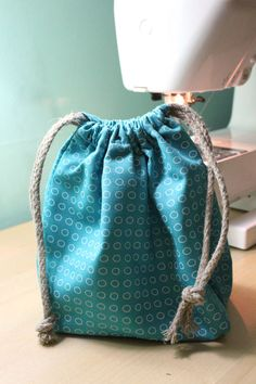 DIY Drawstring Waterproof Bag - made lining from a shower curtain!