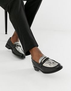 0008478b9 ASOS DESIGN chunky sole loafer in black leather with snaffle