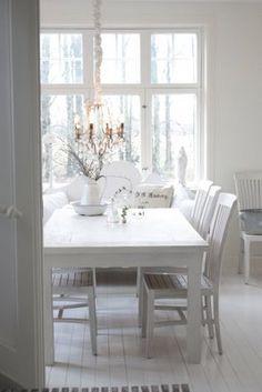 Swedish white dining room