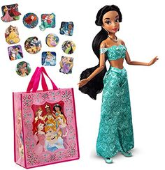 Disney Store Jasmine 12 Classic Doll 12 Disney Princesses Stickers and Reusable Tote Gift Bag Bundle *** Click on the image for additional details.