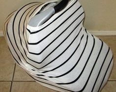 White with Black Sripe Stretchy Car Seat Cover / nursing cover by GingerSunshine on Etsy. $25 use the code 2for42 to buy 2 stretchy car seat covers for $42!!