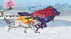 Beautiful artwork of Amaterasu and Oki from Okami. Snowing petals by ~talliesynn on deviantART