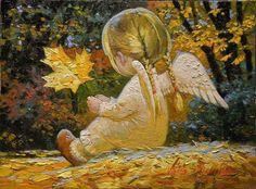 Maple Leaf Angel Girl by Victor Nizovtsev Art And Illustration, Victor Nizovtsev, I Believe In Angels, Angel Pictures, Angels Among Us, Guardian Angels, Angel Art, Christmas Angels, Oeuvre D'art